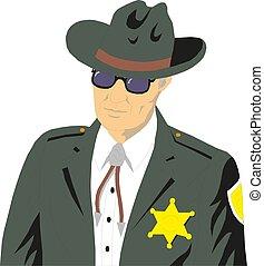 vecteur, officier, américain, policier, 10, eps, garde, sécurité, police, illustration