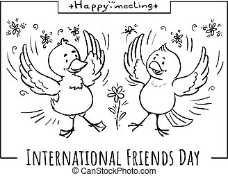 vecteur, oiseaux, heureux, griffonnage, réunion, carte, amis