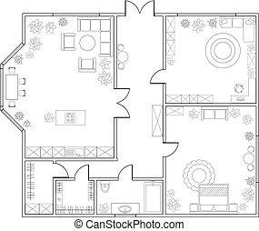 vecteur, one-bedroom, plan, résumé, appartement