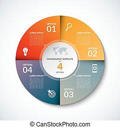 vecteur, options, gabarit, infographic, 4, étapes, cercle, parties