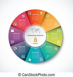 vecteur, options, gabarit, infographic, 8, étapes, cercle, parties