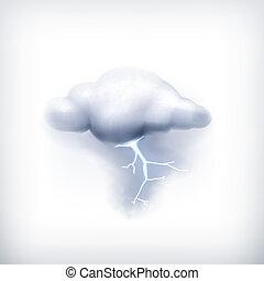 vecteur, orage, icône