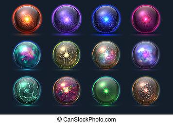 vecteur, orbes, magie, cristal, énergie, sphere., magique, prédiction, verre, ensemble, paranormal, mystérieux, balls.
