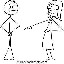 vecteur, organes génitaux, sien, pointage, couverture, frustré, dessin animé, femme, it.sexual, metaphor., homme, problème, aine, entrecuisse, ou, rire