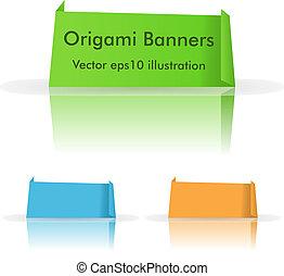 vecteur, origami, bannières, ensemble, reflet