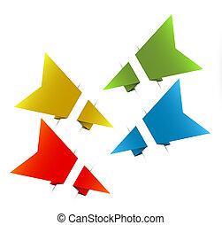 vecteur, origami, papier, flèches