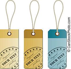 vecteur, original, carton, étiquettes