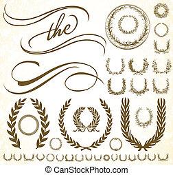 vecteur, ornement, et, couronne, ensemble