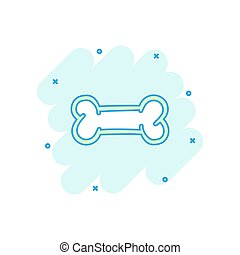 vecteur, os, jouet, squelette, business, concept., chien, illustration, effet, éclaboussure, pictogram., comique, signe, os, style., dessin animé, icône