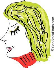 vecteur, ou, affiché, côté, fond, isolé, ensemble, portrait, blanc, femme, couleur, différent, couleurs, illustration