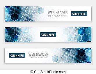 vecteur, ou, hexagonal, bannières, toile, en-têtes, résumé, pattern.