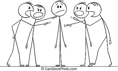 vecteur, ou, homme, hommes, dessin animé, blâmé, interrogated, groupe, illustration, questionné, homme affaires