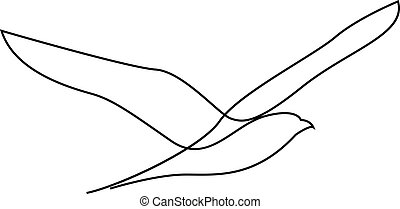 vecteur, ou, mouette, conception, mouette, style, ligne, main, dessiné, mouches, minimalisme, une, illustration, silhouette.