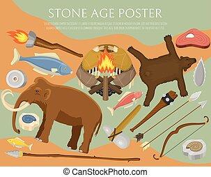 vecteur, ou, primitif, ancien, illustration., chasse, neanderthals, sapiens., fish, préhistorique, equipment., vie, animals., armes, âge, homo, bear., affiche, pierre, outils, ménage