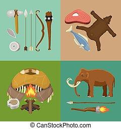 vecteur, ou, primitif, ancien, illustration., chasse, neanderthals, sapiens., fish, préhistorique, equipment., vie, animals., armes, âge, homo, bear., bannière, pierre, outils, ménage