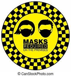 vecteur, ou, usure, panneau avertissement, prudence, illustration, masque