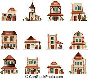 vecteur, ouest, cow-boy, style, bar, sauvage, magasin, vieux, barre, bâtiment, ville, dessin animé, occidental, constructions.