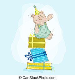 vecteur, -, ours, anniversaire, illustration, bébé