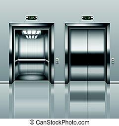 vecteur, ouvert, fermé, ascenseur