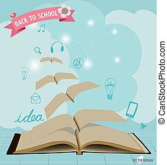 vecteur, ouvert, voler, moderne, application, livres, gabarit, icône, design., illustration.