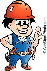 vecteur, ouvrier, bricoleur, illustration, dessin animé, construction, ou, heureux