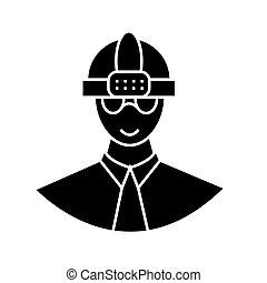 vecteur, ouvrier, fond, icône, isolé, signe, casque, illustration