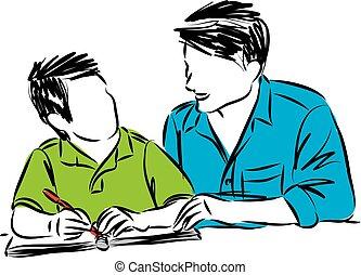 vecteur, père, devoirs, illustration, fils