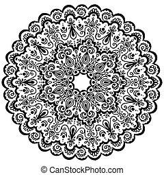 vecteur, page, coloration, pattern., henné, ornement, livre, mandala, texture., reprise