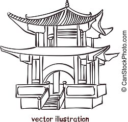 vecteur, pagode, croquis, chinois