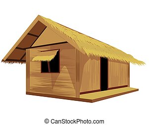 vecteur, paille, conception, hutte, isolé, fond blanc