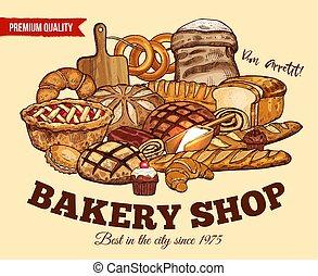 vecteur, pain, croquis, affiche, pour, boulangerie, magasin