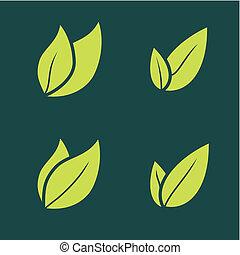 vecteur, paire, icône, deux, illustrations, feuille, solide