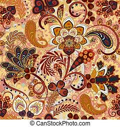 vecteur, paisley, floral, indien, fleurs, seamless, modèle, fond, style.