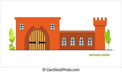 vecteur, palais, élevé, tour, moyen-âge, castle., conte, fée, plat, grand, portail