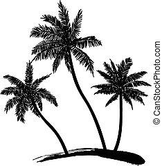 vecteur, palmiers
