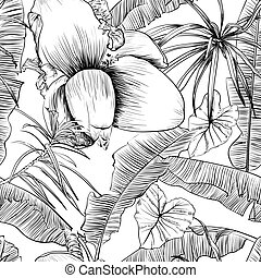 vecteur, palms., coloration, illustration., modèle, seamless, exotique, livre, banane