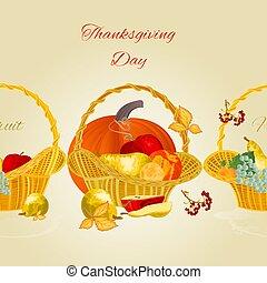 vecteur, panier, frontière fruit, fond, fruité, osier, jour, seamless, illustration, thanksgiving
