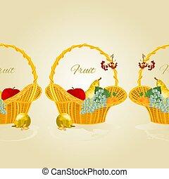 vecteur, panier, frontière fruit, fond, fruité, osier, seamless, illustration