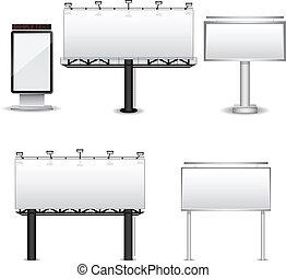 vecteur, panneaux affichage