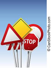 vecteur, panneaux signalisations
