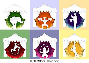 vecteur, papier, coupure, cirque, affiche, logo, carte, ensemble