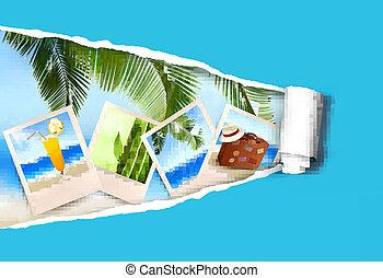 vecteur, papier, fond, été, photos, déchiré, bord mer, ...