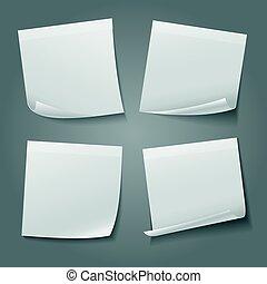 vecteur, papier note, carrée, vide, blanc, autocollant, stockage