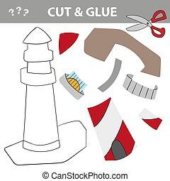 vecteur, papier, preshool, jeu, lighthouse., illustration, ...