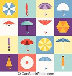 vecteur, parapluie, collection, icônes