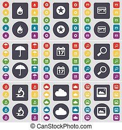 vecteur, parapluie, microscope, ensemble, coloré, plat, carte, étoile, grand, brûler, magnifier, boutons, crédit, fenêtre, calendrier, verre, icône, nuage, ton, symbole., design.