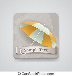 vecteur, parapluie, ouvert, icône