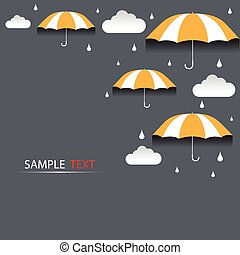 vecteur, parapluie, pluie, fond
