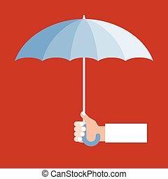 vecteur, parapluie, tenant main