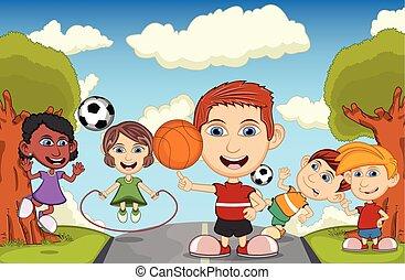 vecteur, parc, dessin animé, enfants